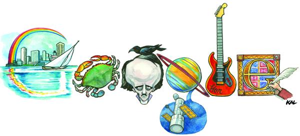 Baltimore themed Google logo by Kevin KAL Kallaugher