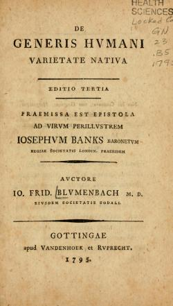 The title-page of the On the Natural Varieties of Mankind by Blumenbach