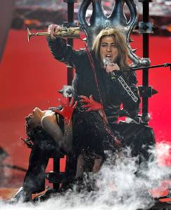 Samir Javadzade singing in his scenic role of demon at the Eurovision 2008 in Belgrade, Serbia