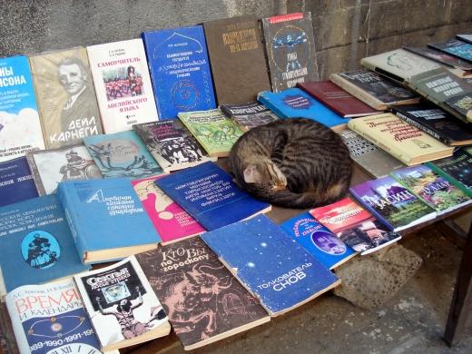 Used old book seller on Islam Safarli Street.