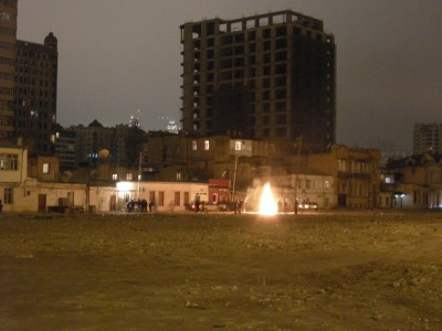 Novruz bonfire in the demolition area.