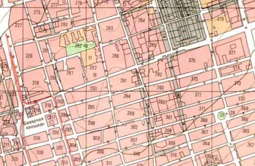 Demolition area in central Baku as seen in an 1898 map of Baku.