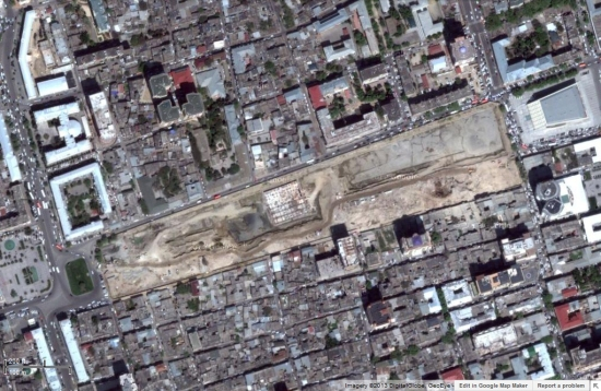 Demolition area in central Baku as seen in Google Maps.