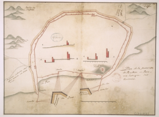 """Plan de la forteresse de Bakou en Perse, avec lattaque des Russiens - Scheme of the Baku fortress in Persia, with attack of Russians"". Second city wall of Baku is visible on this XVIII century map, describing bombardment of the city preceding capture of Baku in July 1723."