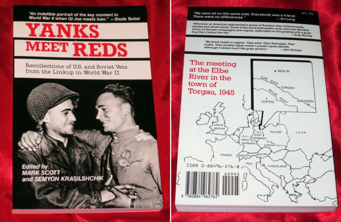 """The cover of the book """"Yanks meet Reds: recollections of U.S. and Soviet vets from the linkup in World War II"""". Capra Press, August 1988. Source: ebay.com"""