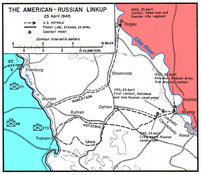 Map of the three Elbe Day link ups. Source: The Fighting 69th Infantry Division Website.