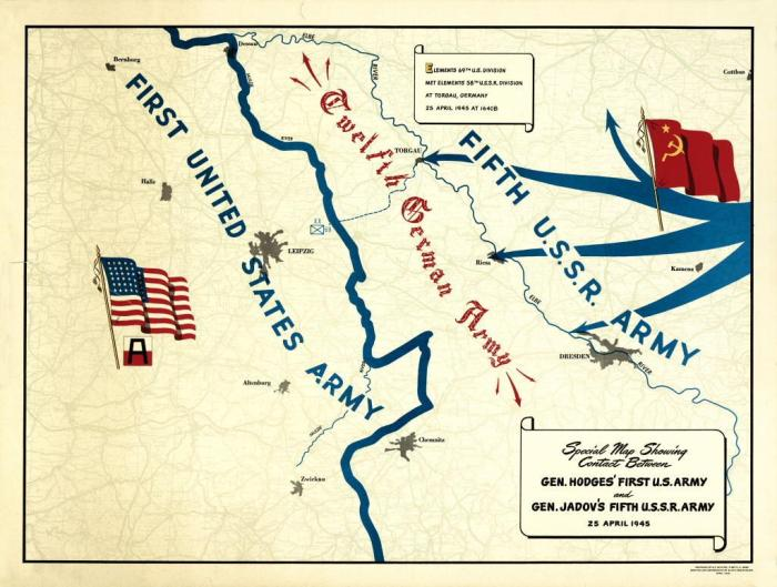 The map produced by Americans for the Elbe River linkup ceremony. Source: The Fighting 69th Infantry Division Website.