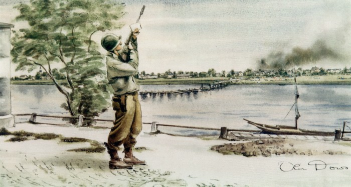 """""""Signal to the Russians"""" by Olin Dows. Source: U.S. Army Center of Military History"""