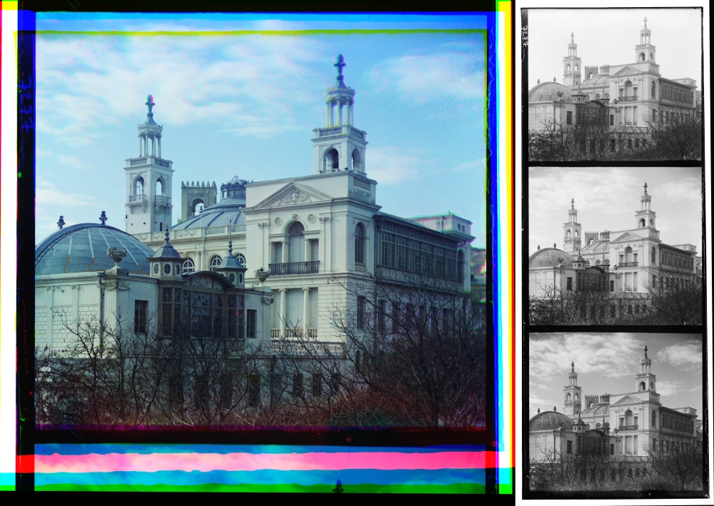The reconstructed color image of the photo of the Philharmonic building (left) and the digital file of its triple negative (right). Source: The Library of Congress.