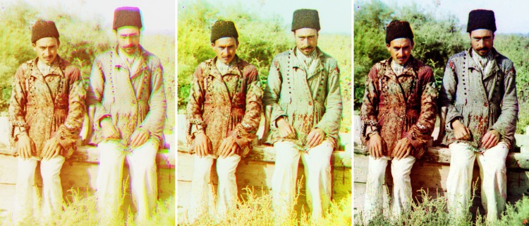 "A fragment of the reconstructed ""Persian Tatars"" photo. Left: the version of the Library of Congress. Middle: my version. Right: the version restored by V.Ratnikov."