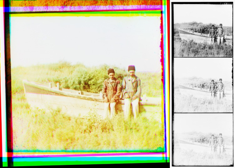 "The reconstructed color image of the ""Persian Tatars. Saatly. Mughan"" photo (left) and the digital file of its triple negative (right). Source: The Library of Congress."